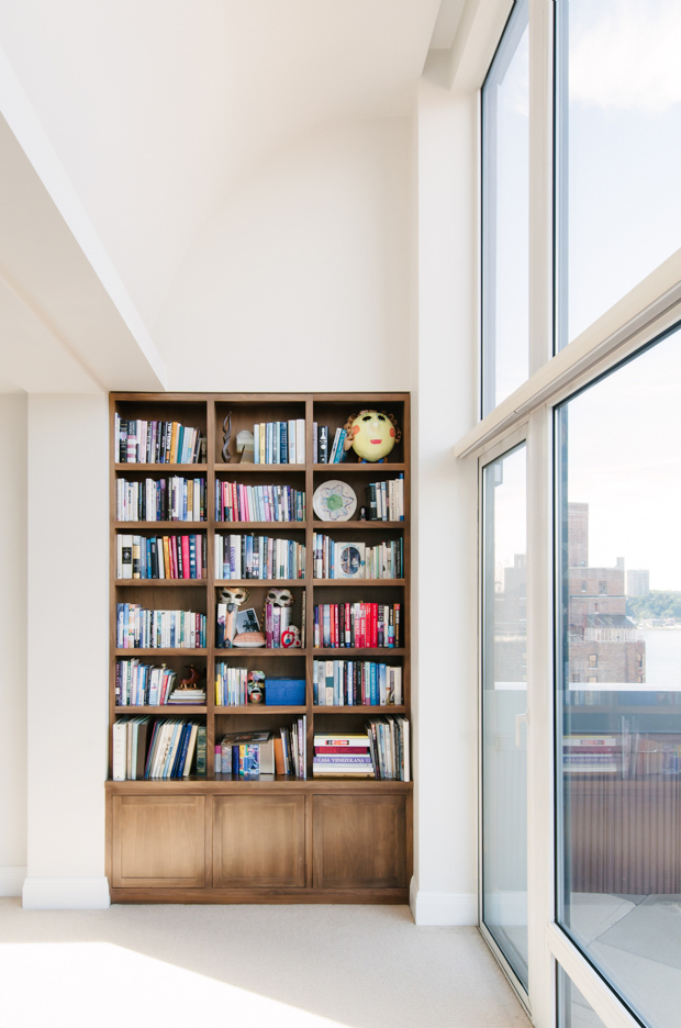 image of bookcase in upper west side penthouse in nyc