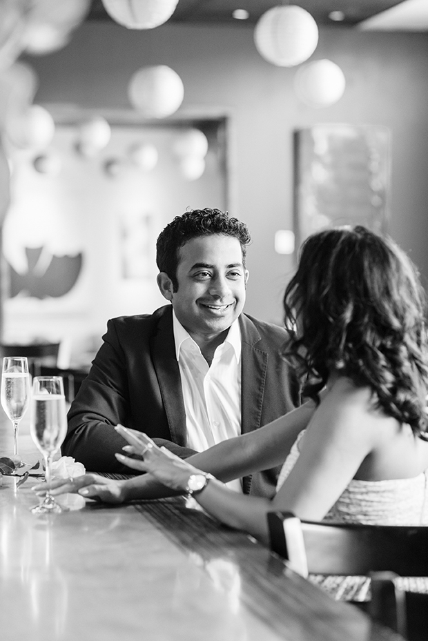 Indoor black and white couple's shoot