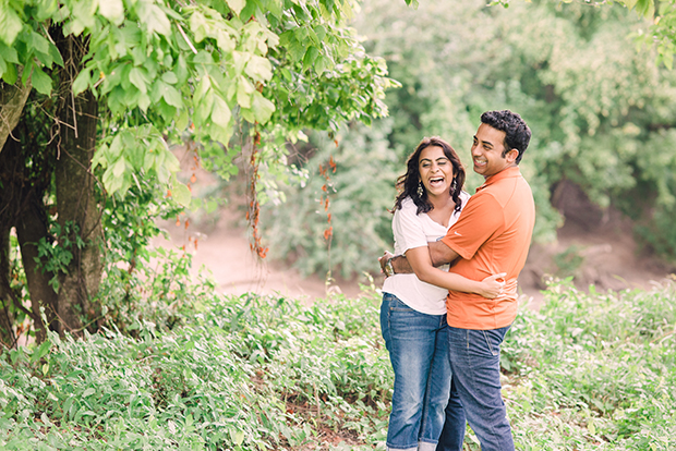 Engaged Couple Laughing at a Photoshoot