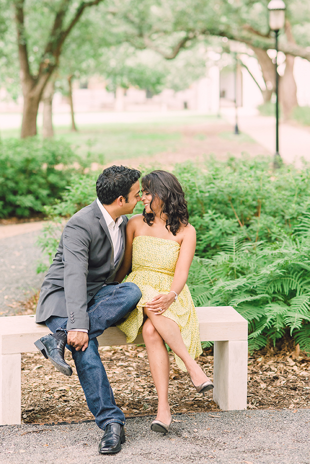Couple Sitting on Bench in Houston at Engagement Shoot