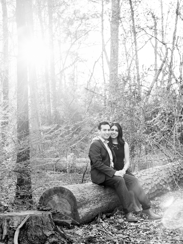 Black and White Houston Engagement Portrait