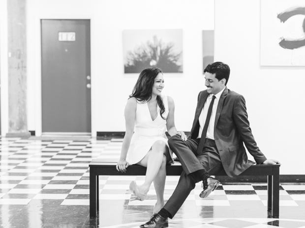 Black and White engagement portrait of couple