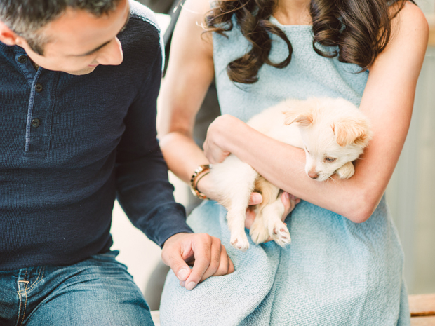 engagement portrait with puppy