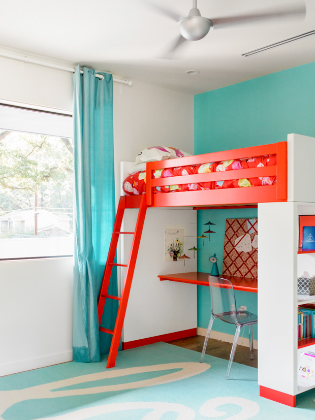 Aqua and Red Kids Room