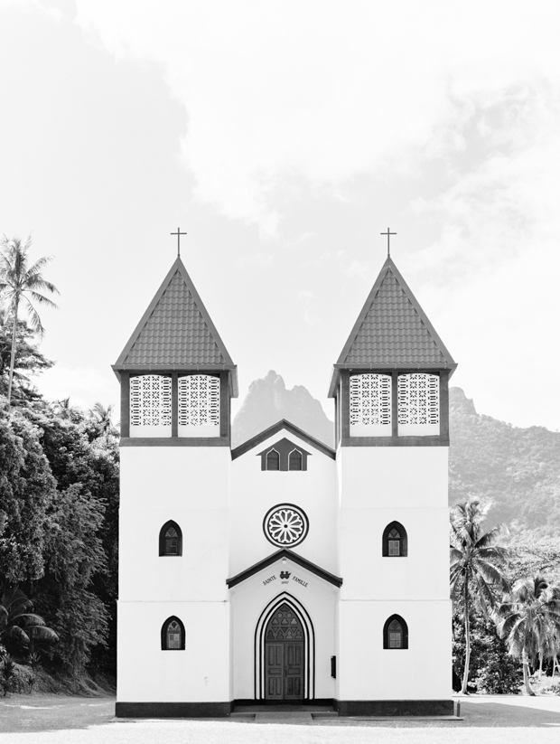 black and white tropical church